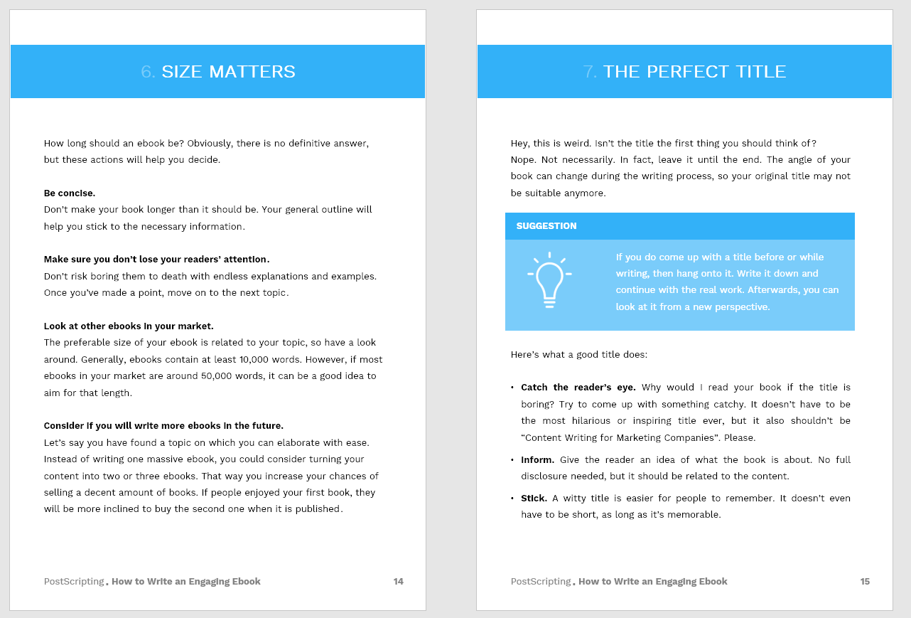 Sample pages designed in PowerPoint.
